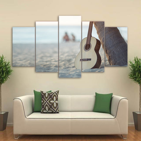 Guitar in Sand Beach 5 Piece Canvas
