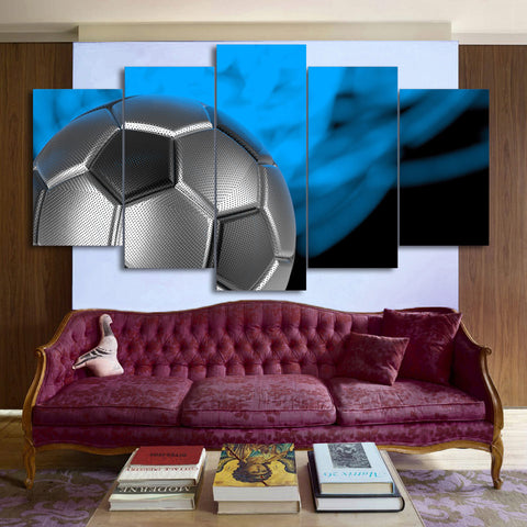 Soccer Ball Silver and Black 5 Piece