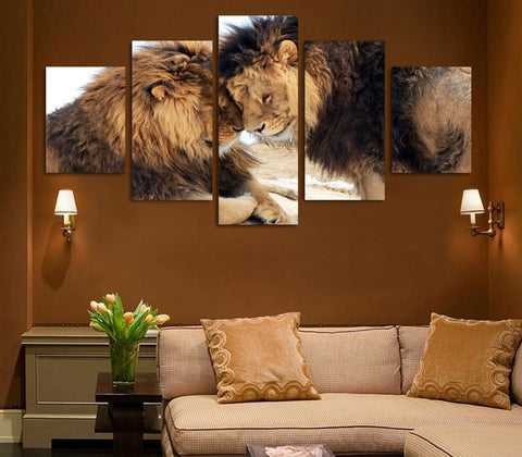Lion Couple 5 Piece Canvas