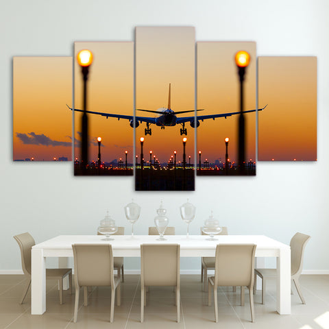 Airplane and Lights 5 Piece Canvas