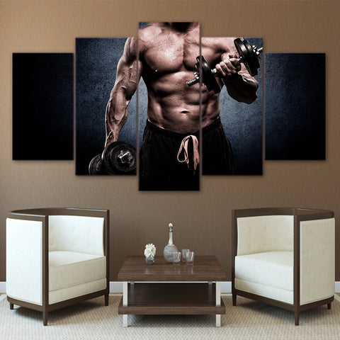 Man Fitness Muscle Barbell 5 Pieces Canvas