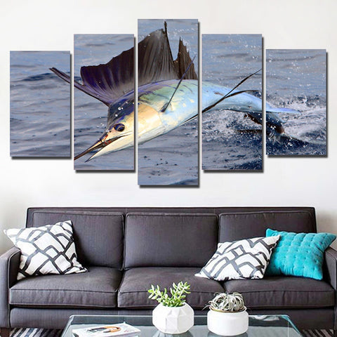 Swordfish Jumping 5 Piece Canvas