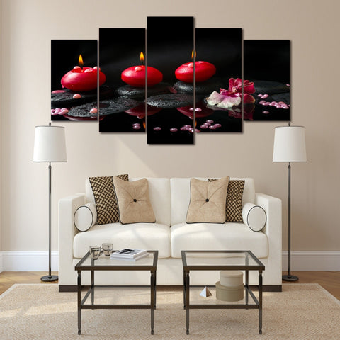 Red Candles 5 Piece Canvas