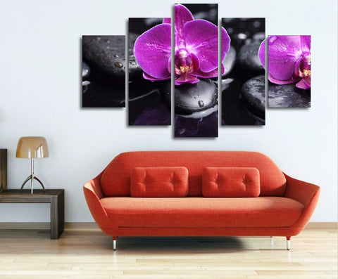 Orchids Purple 5 Piece Canvas