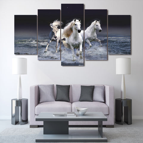 White Horses at Beach 5 Piece Canvas