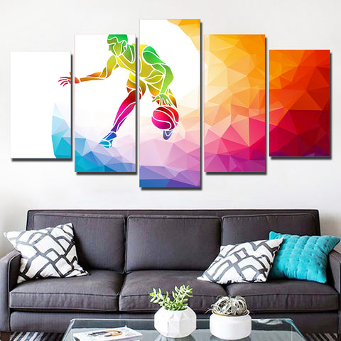 Colorful Basketball Player 5 Piece Canvas