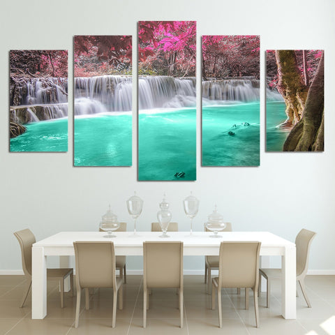 Waterfall Forest Flowers 5 Piece Canvas