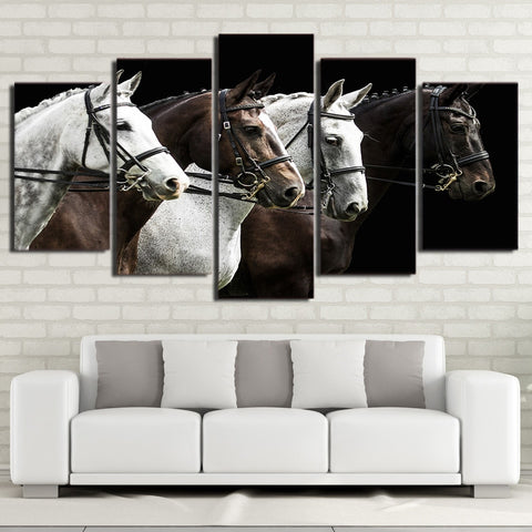 Black & Brown Horse Race 5 Piece Canvas