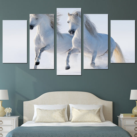 Beautiful White Horses 5 Piece Canvas
