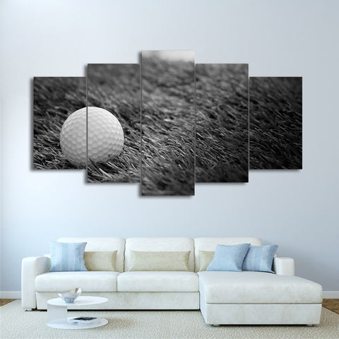 Golf Ball in Grass Black and White 5 Pieces Canvas