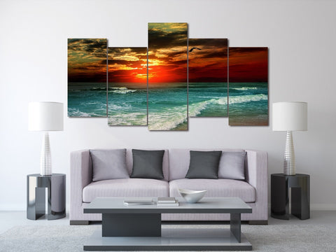 Tropical Sunset 5 Piece Canvas