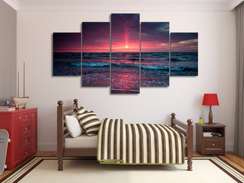 Dawn at Beach 5 Piece Canvas