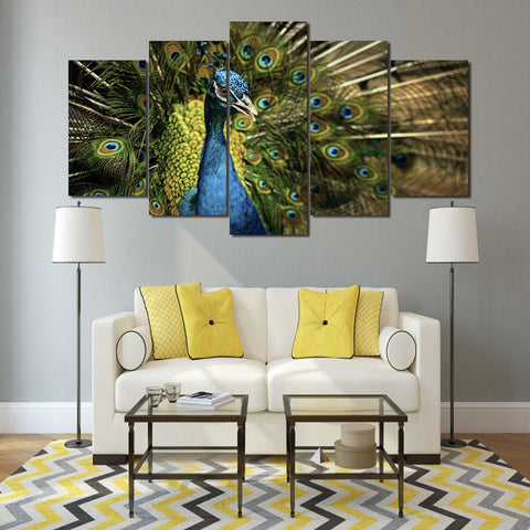 Peacock 5 Piece Canvas