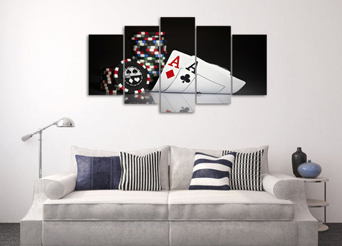 Cards and Chips 5 Piece Canvas
