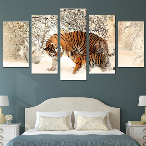 Snow Mountain Tiger 5 Piece Canvas