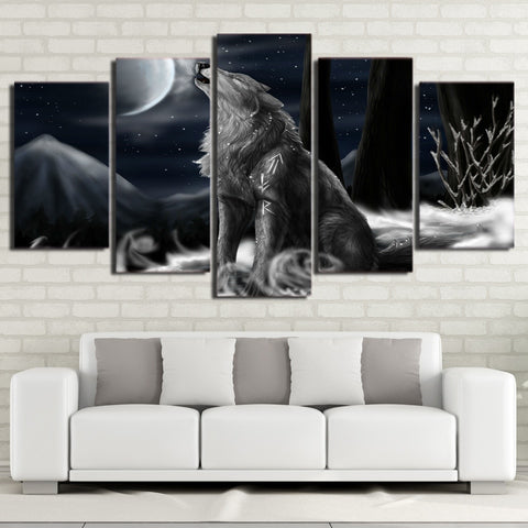 Wolf Howling at the Moon 5 Piece Canvas