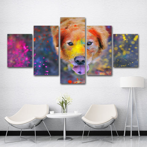 Dog with Paint 5 Piece Canvas