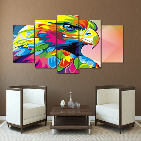 Colorful Eagle 5 Piece Canvas