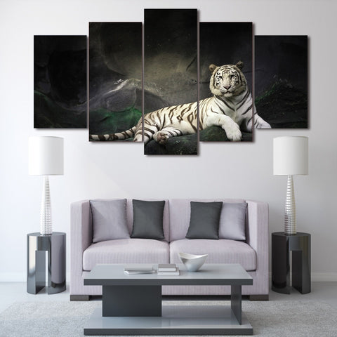 White Tiger at Big Rock 5 Piece Canvas