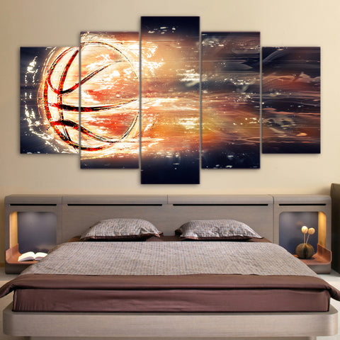 Basketball in Fire 5 Piece Canvas