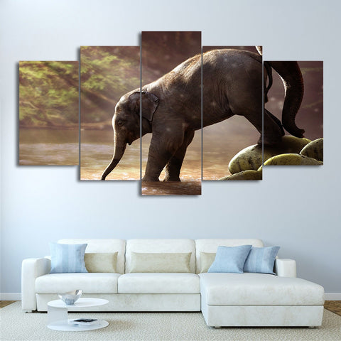 Elephant Drinking 5 Piece Canvas