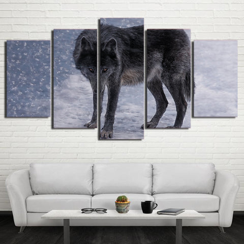 Red Eyes Snow Wolf 5 Piece Canvas