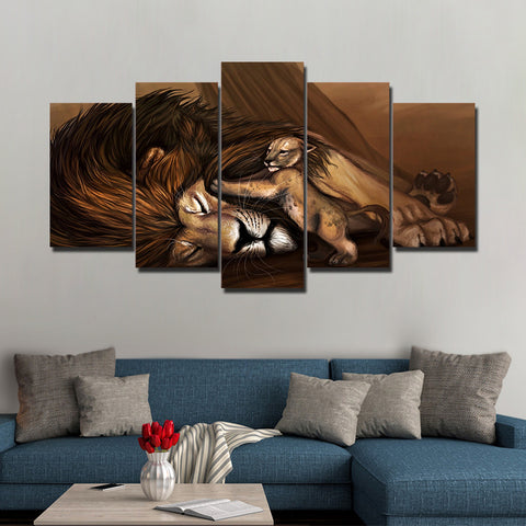 Lions and Sweet Little Lion 5 Piece Canvas