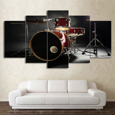 Red Vintage Drum 5 Piece Canvas
