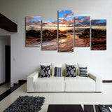 Clouds Sky Dawn Rocks 5 Piece Canvas