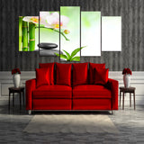 White Orchid Bamboo Stone 5 Piece Canvas