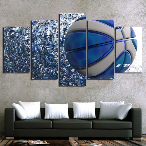 Blue Basketball 5 Pieces Canvas