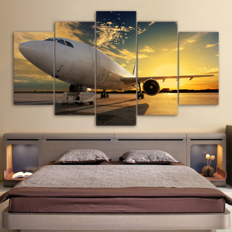 Sunset and White Airplane 5 Piece Canvas