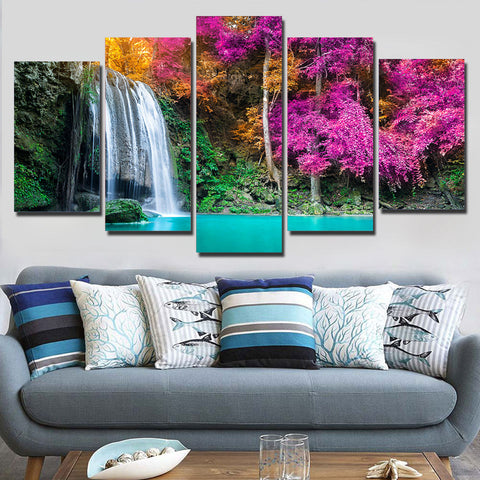 Beautiful Waterfall Purple Tree 5 Piece Canvas