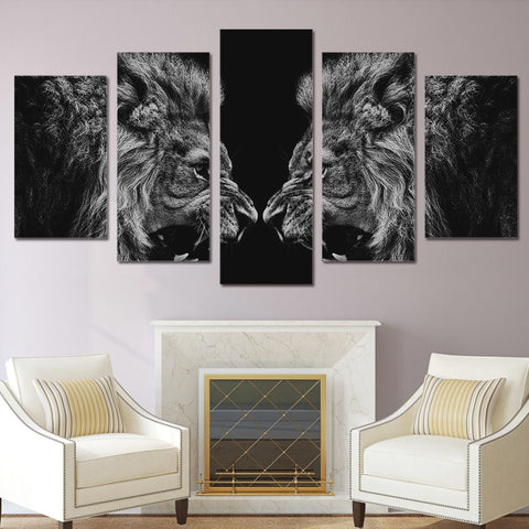 Lion Mirror 5 Piece Canvas