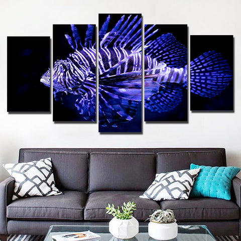 Purple Fish 5 Piece Canvas