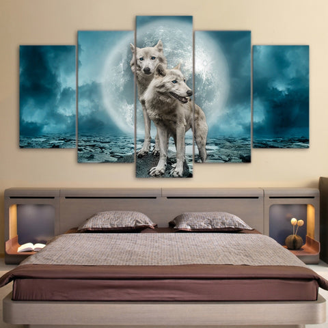 Wolves in the Moon 5 Piece Canvas