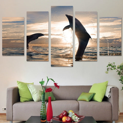 Beautiful Playful Dolphins 5 Piece Canvas