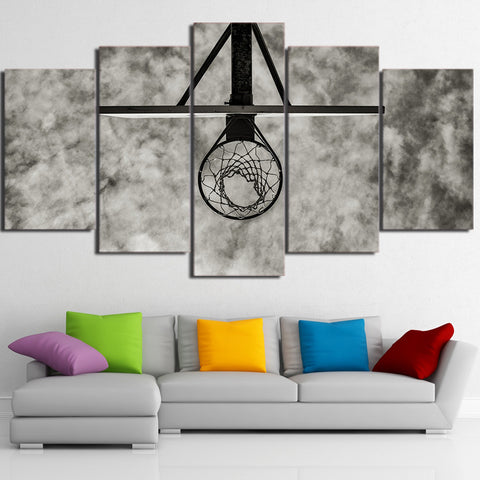 Basketball Circle and Sky 5 Piece Canvas