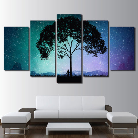 Tree With Starry Sky 5 Piece Canvas