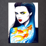 Gold Fish Girl by Pixie Cold Art 1 Piece Canvas