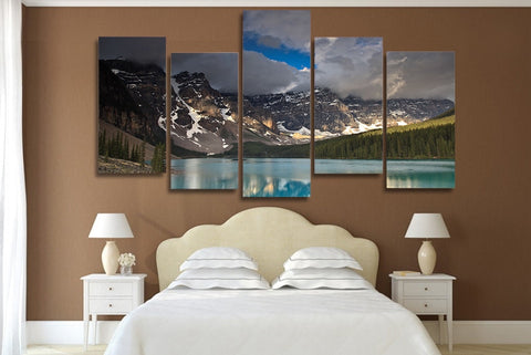 Dark Clouds Snow Mountain Lake 5 Piece Canvas