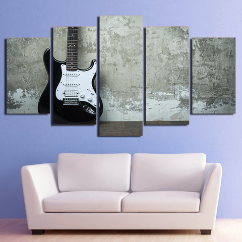 Vintage Black and White Guitar 5 Piece Canvas