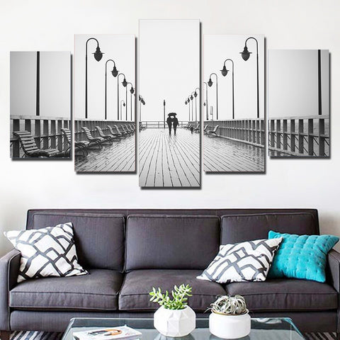 Romantic Couple Walking at Bridge 5 Piece Canvas