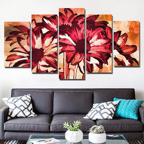 Beautiful Abstract Flower 5 Piece Canvas