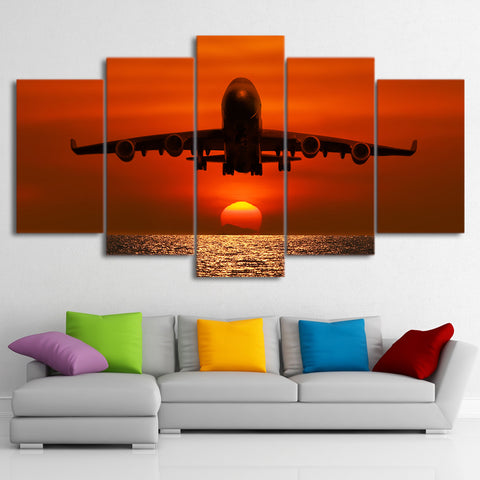 Airplane and Sunset 5 Piece Canvas