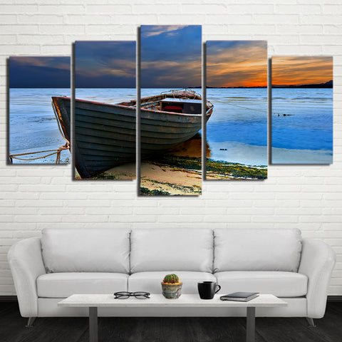 Fishing Boat Seashore 5 Piece Canvas