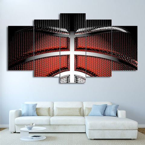 Red and Silver Basketball 5 Piece Canvas