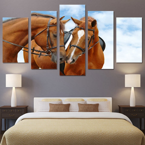 Horses Sky Blue 5 Piece Canvas