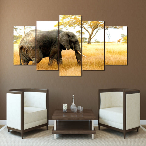 Elephant Alone 5 Piece Canvas