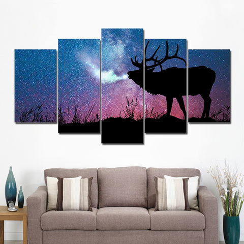 Stag In Starry Night 5 Piece Canvas